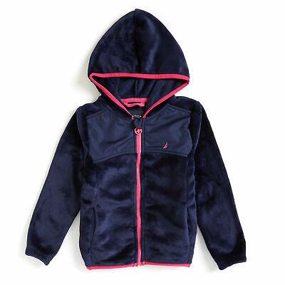 Nautica Toddler Girls' Micro Fleece Nautex Full-Zip Hoodie Enamel Blue Pink  2T