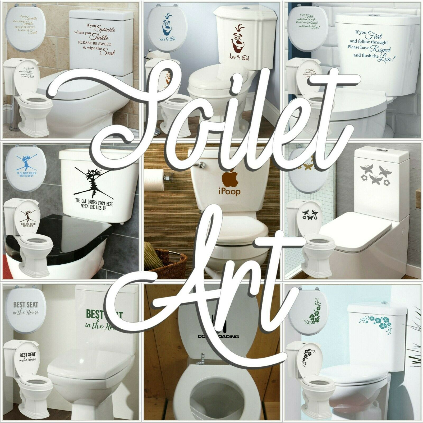 Home Decoration - Toilet Stickers Decal Bathroom Wall Transfer Art Interior Decoration Quote UK!