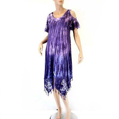 Advance Apparels Sundress Dark Purple Anchor Tie Dye Dress O/S fits XL/1X ()
