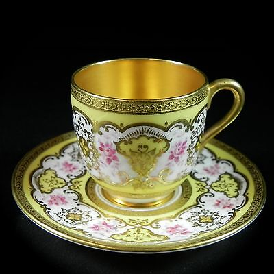 Antique Coalport Cabinet Miniature Cup & Saucer Gold Yellow Pink Demitasse 1of 6 on Rummage