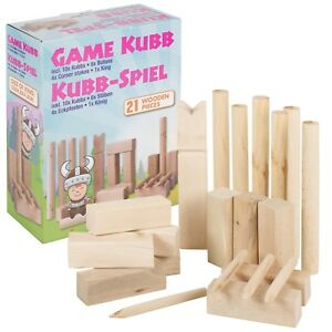 Kubb Birch Wooden Game Family Garden Toy Block Outdoor Chess Boules Party Game
