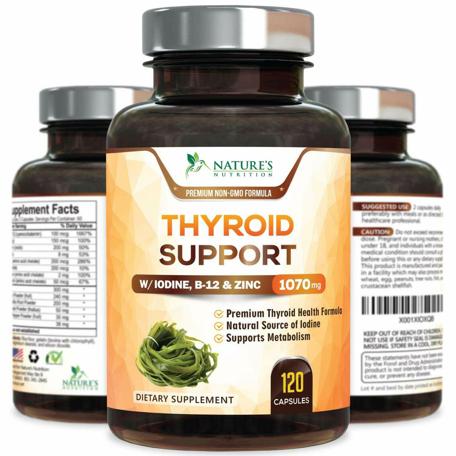 Thyroid Support Supplement 1070mg with Iodine, Vitamin B12, Metabolism, Energy