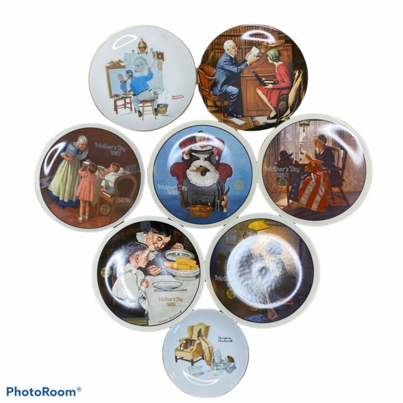 Vintage Norman Rockwell Plate Lot of 8 Decorative Mother