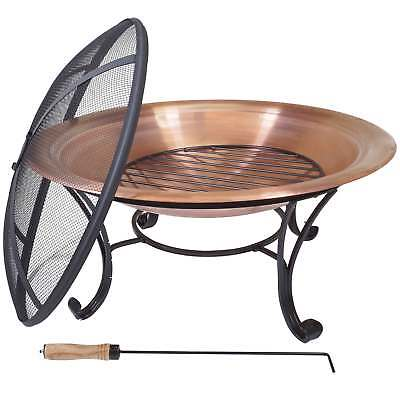 """Copper Fire Ring, Outdoor Fire Pit, Wood Burning Fire Bowl for Patio, Deck (29"""")"""