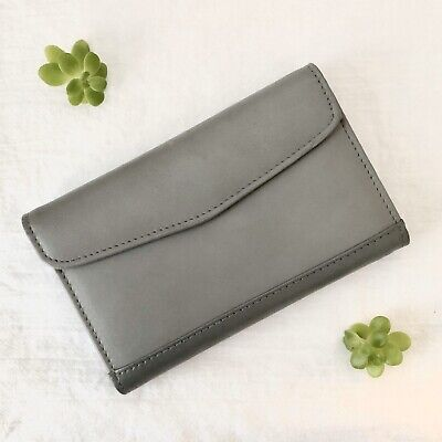 Womens Vintage Smithy Genuine Leather Organizer In Gray With Pen And Notebook