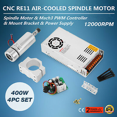 Cnc 0.4kw Air Cooling Spindle Motor Er11 Mach3 Pwm Controller Mount