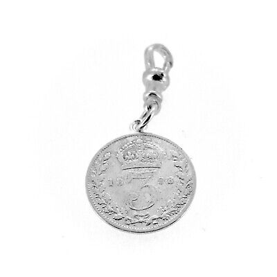 Sterling Silver 1898 Three Pence Coin Pocket watch or Albert Chain Fob Charm