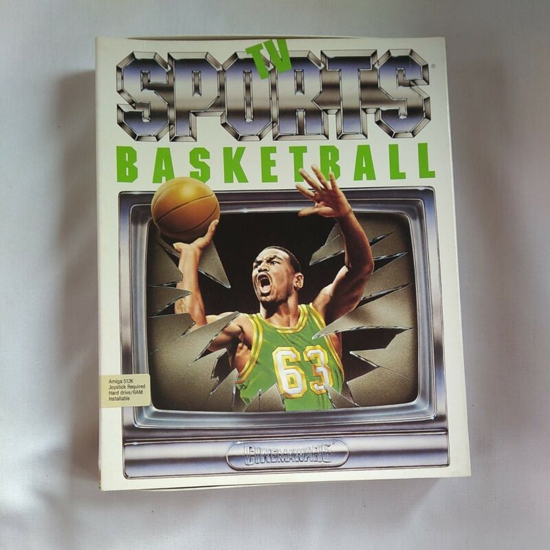TV Sports Basketball Amiga Game w/Box, Manuals and Disks Tested/Works