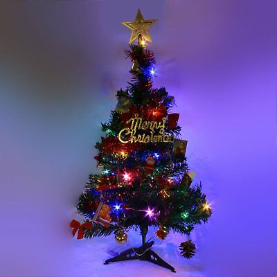 US Tabletop Artificial Mini Christmas Tree With LED Light & Ornaments Xmas Decor ()