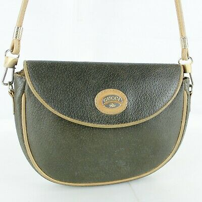 GUCCI PLUS Leather Crossbody Shoulder Bag Purse Vintage Olive Green Tan Trim