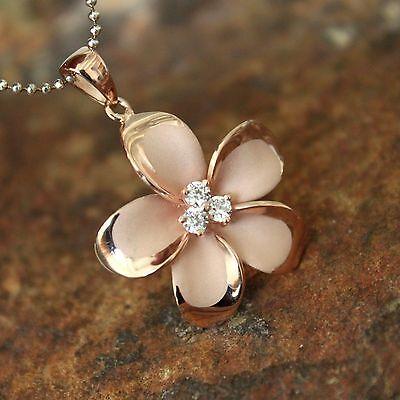 Hawaiian Jewelry - 25mm LARGE Rose Gold Plumeria Hawaiian Flower Silver Pendant Necklace #SP90549