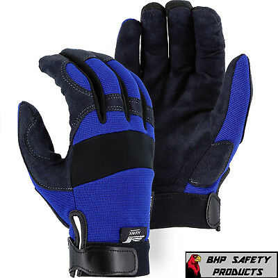 Majestic Glove Armorskin 2137bl Synthetic Leather Mechanics Work Gloves S-xl