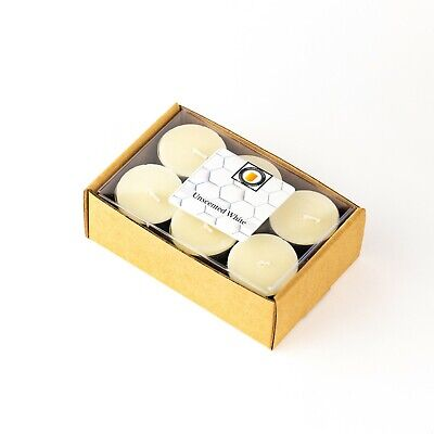 24 Natural White Unscented Beeswax Tea Light Candles, Cotton Wick, Aluminum Cup