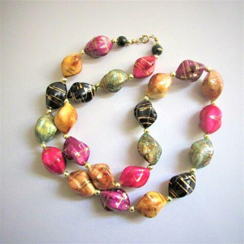 "Vtg Multi Color Big Chunky Bead Necklace Statement Baroque Shape Lightweight 28"""