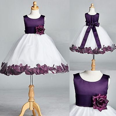 Plum Rose Petal Dress Wedding Flower Girl Bridesmaid Holiday Fall Autumn - Plum Wedding