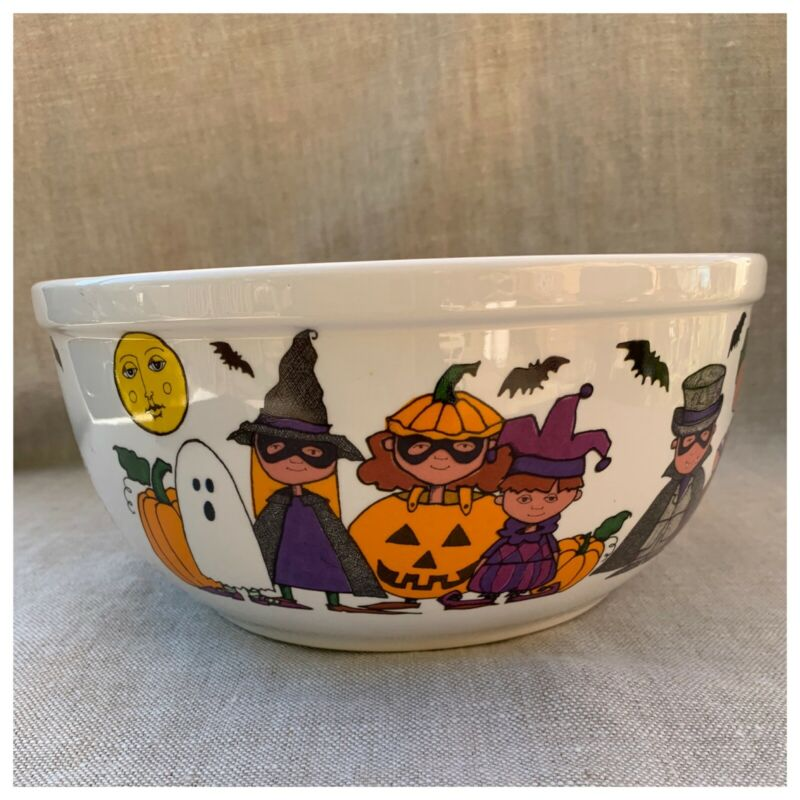 "Vintage Starbucks Halloween Ceramic Trick Or  Treat Candy Bowl 8 3/4""  x 4 1/2"""