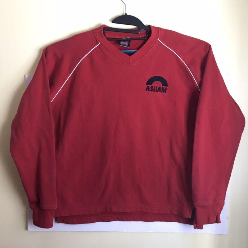 Asham Curling Supplies Sweater Logo Spellout size medium Red