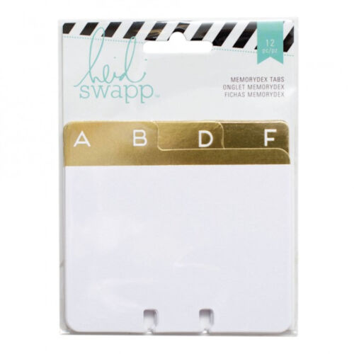 Heidi Swapp MEMORYDEX (12) CARDS-GOLD FOIL ADDRESS BOOK TABS scrapbooking