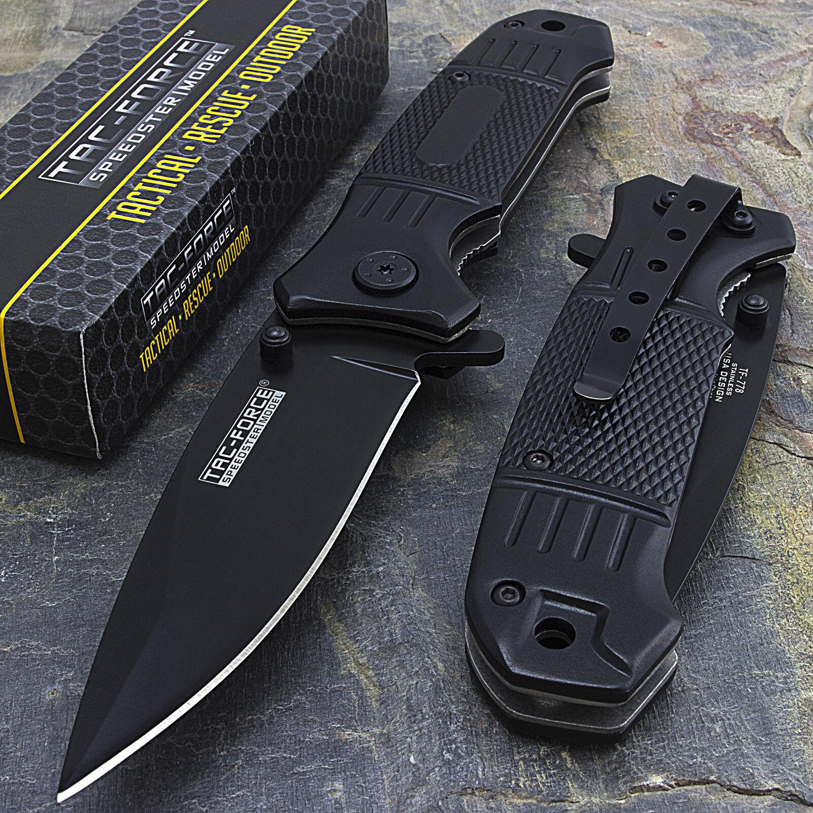 """Knife - 7.75"""" TAC FORCE SPRING ASSISTED TACTICAL EDC FOLDING POCKET KNIFE Open Assist"""