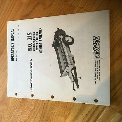 New Idea Manure Spreader 215 Operator Maintenance Manual