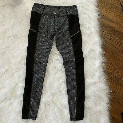 Z by Zobha Womans Size Medium 8-10 Gray Black Chevron Zip Ankle Leggings