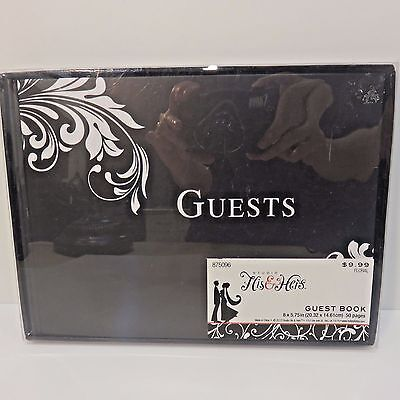Studio His & Hers 50-PAGE WEDDING GUEST BOOK, Black/White, New Unopened Box