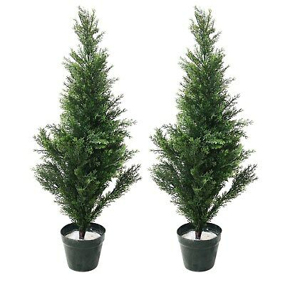 32 Inch Topiary Cedar Fake Artificial Tree Indoor Outdoor (Set of 2)