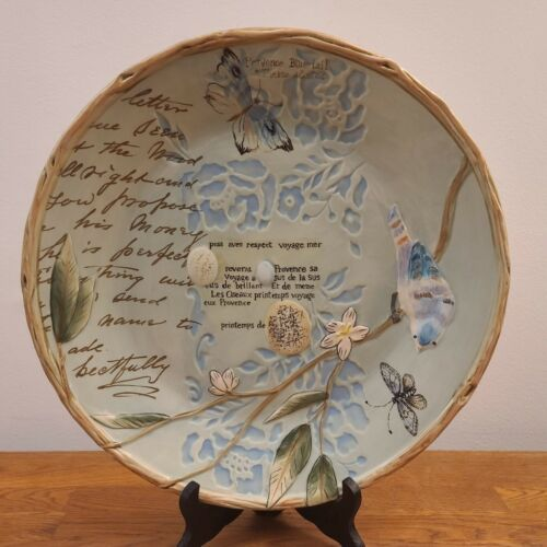 """Fitz & Floyd Toulouse 13"""" Round Serving Platter/Chop Plate Embossed Birds"""