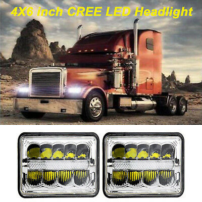 "4x6 "" inch For Kenworth Peterbilt LED Rectangular DRL Sealed Beam Headlight 2pcs"