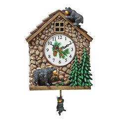 Hand Painted Bear Cabin Analog Pendulum Wall Clock