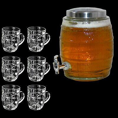 [ 5l Bierfass + 6 Biergläser ] Biertower Biersäule Bier Getränkespender Zapfhahn (Zapfsäule Getränke Spender)
