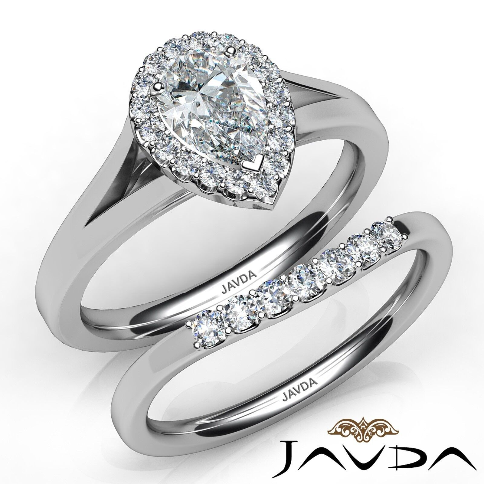 1.4ctw Halo Bridal Set Cathedral Pear Diamond Engagement Ring GIA I-SI2 W Gold