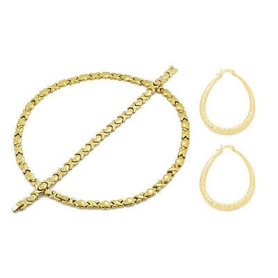 - Women's 14K Gold Finish Hugs & Kisses Necklace Bracelet Hoop Earrings Set XOXO