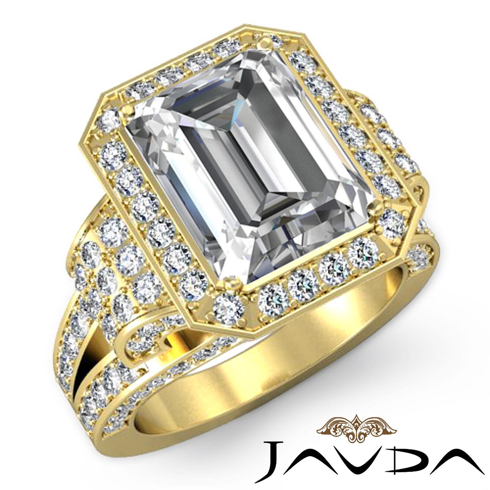 4.4ctw Antique Vintage Halo Emerald Diamond Engagement Ring GIA I-VS1 White Gold 7