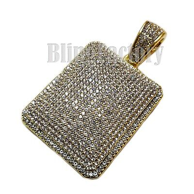 HIP HOP FULL ICED LAB DIAMOND GOLD PLATED BLING SQUARE DOG TAG CHARM PENDANT Lab Square Pendant