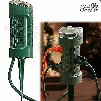 Outdoor power timerebay 1 6 outlet power stake timer outdoor light sensor 6 foot cord weatherproof garden mozeypictures Image collections