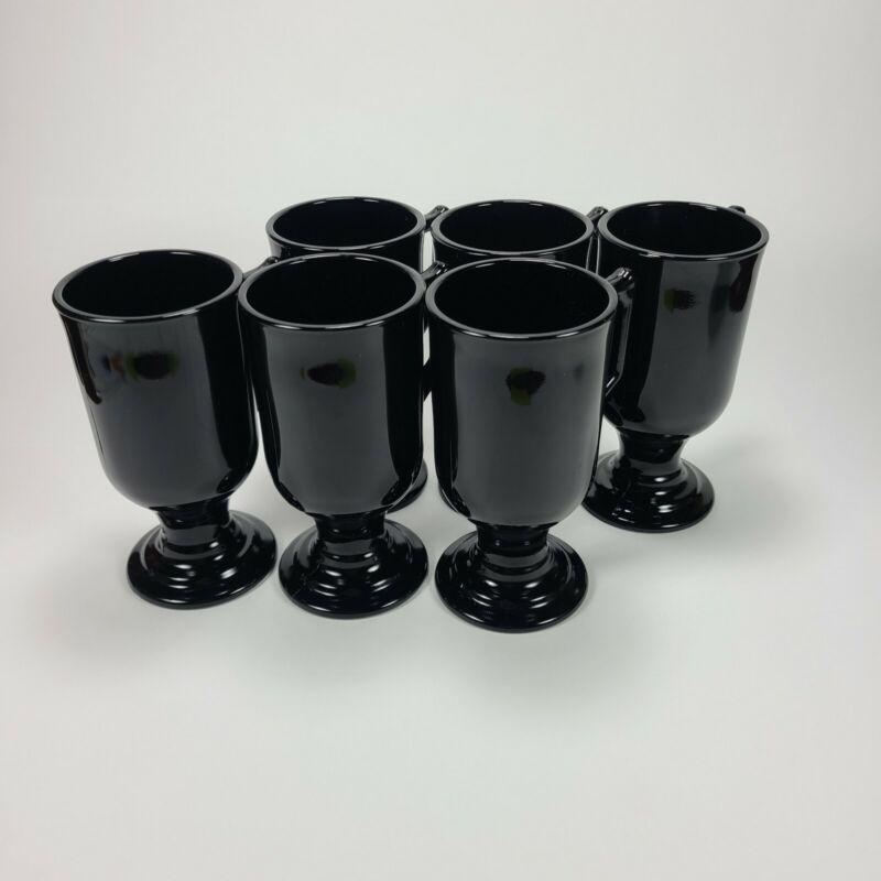 Vintage Indiana Glass Black Footed Coffee Toddy Mug Set Of 6 + 1