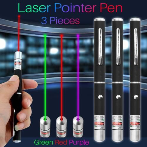 3 Stück Laserpointer Beam Light Rot + Grün + Lila Leistungsstarke Lazer