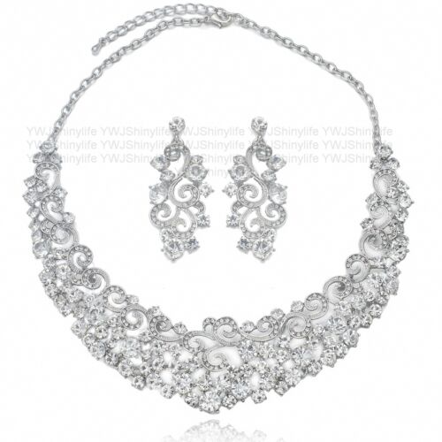 YT234 Clear Rhinestone Crystal Alloy Earrings Necklace Set Unbranded Bridal Gift