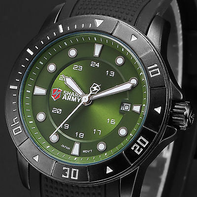 $19.95 - SHARK ARMY Luxury Men's Military Silicone Band Date Quartz Wrist Sport Watch