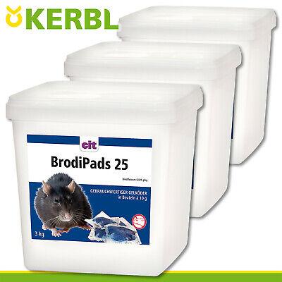 Kerbl 3x 3 KG Brodipads 25 Rat Poison Mouse Gelköder Bait Paste Rat