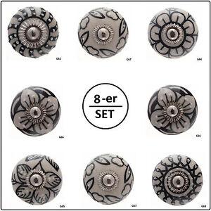 8-er SET Knäufe Möbelknopf Schublade Schrank Keramik Griffe Tür edel rund S51