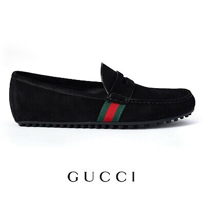 Men's Gucci Loafers Black Suede Moccasins Size UK 8 US 9 Brand New RRP 495