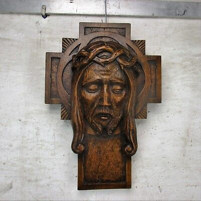 Gorgeous hand Carved Wood Art Jesus Christ Head of Thorns Sculpture Crucifix Oak