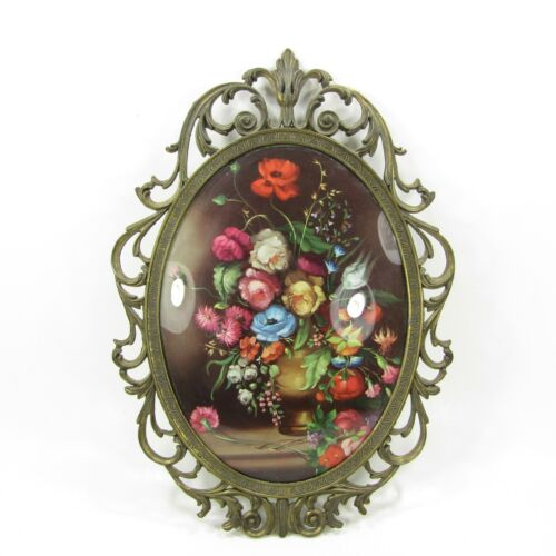 Vintage Italy Ornate Oval Brass Picture Frame Floral Bubble Convex Glass