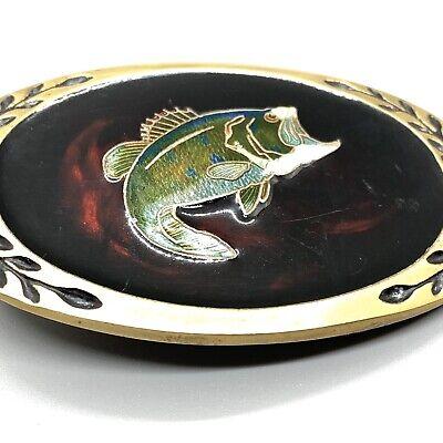 Vtg Brass Belt Buckle BIG MOUTH BASS Tortoise Shell Resin Heritage -