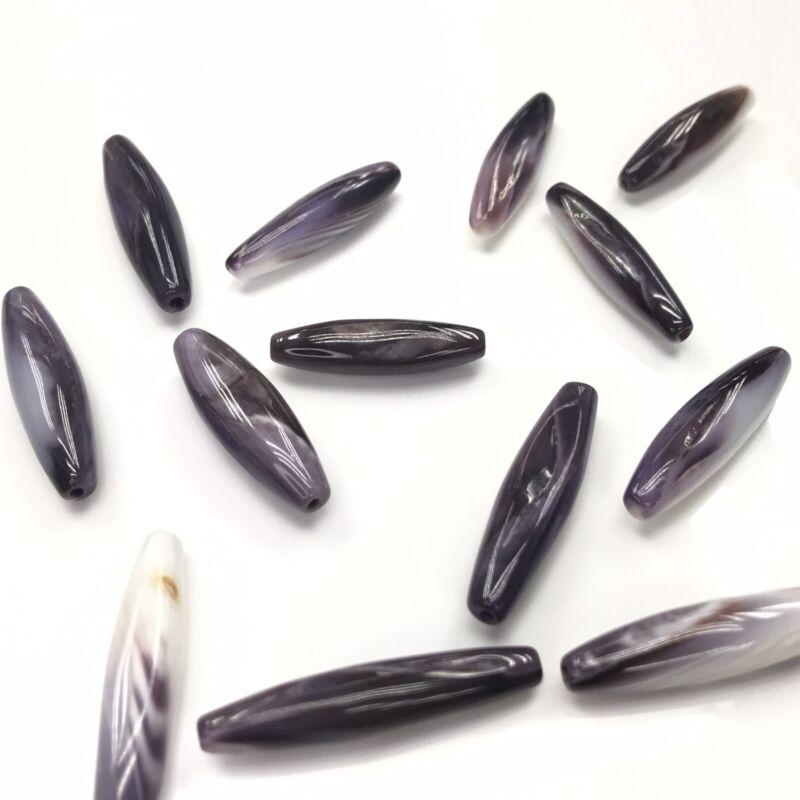 2 PC - Natural Purple Wampum Quahog Shell Olive Beads NEW DIY Design Special