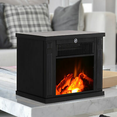 HOMCOM 1000W Portable Electric Fireplace Freestanding Tabletop Heater LED Flame Electric Tabletop Heater