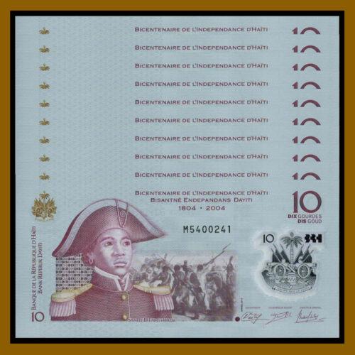 Haiti 10 Gourdes x 10 pcs, 2013 (2017) P-279 Comm. Indep. 1804-2014 Polymer