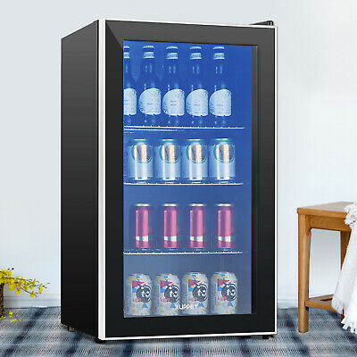 120 Can 3.1 Cu.ft. Mini Fridge Cooler Beverage Soda Beer Bar Stainless Steel